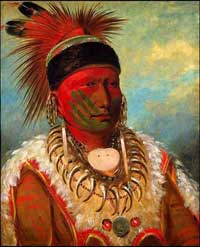 Вождь индейцев племени айова Фрэнк Белое Облако (худ. Джордж Кэтлин, 1845 год)