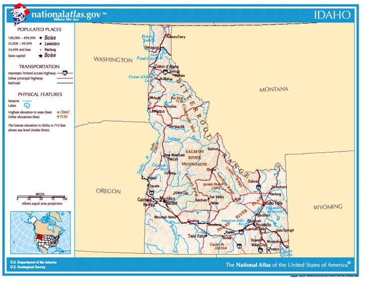 Карты США. Карта штата Айдахо