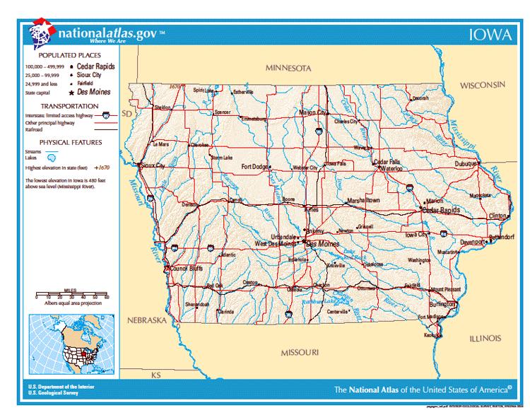 Карты США. Карта штата Айова